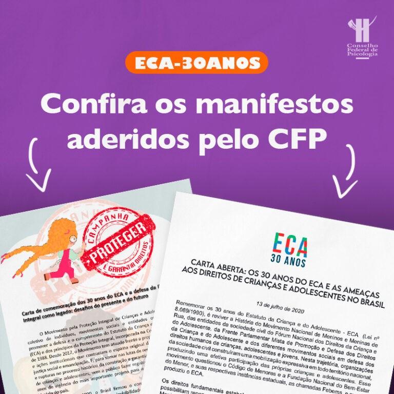 FONTE: CFP. ECA 30 anos: CFP reafirma necessidade de defesa intransigente da infância e da adolescência